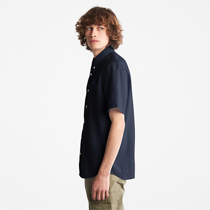 Camisa de Lino/Algodón Lovell para Hombre en azul marino-