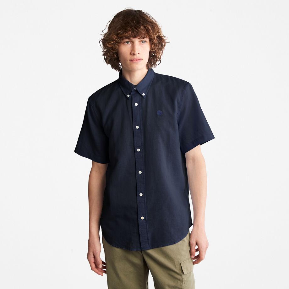 Timberland Lovell Linen/cotton Shirt For Men In Navy Navy, Size M