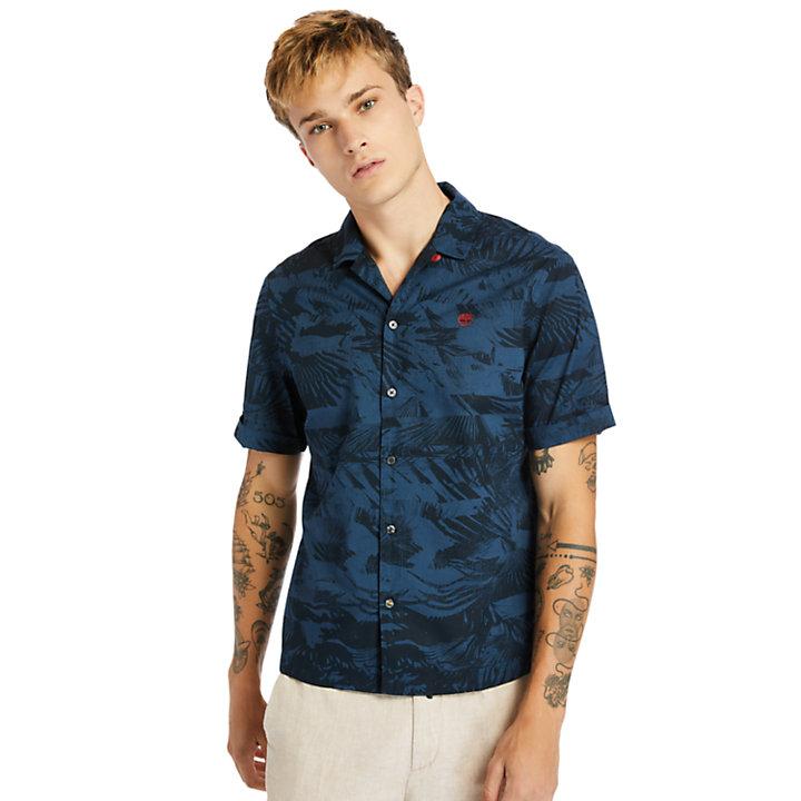 Camisa de Algodón Orgánico Resort para Hombre en azul verdoso-