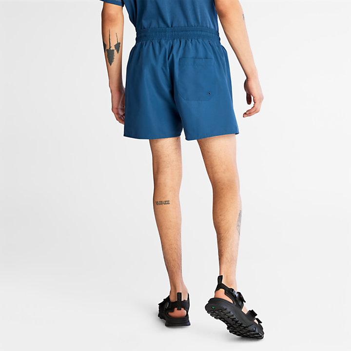 Short de bain uni pour homme en bleu-
