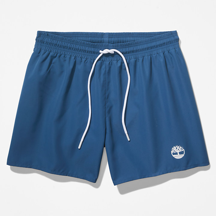 Solid-Colour Swim Shorts for Men in Blue-