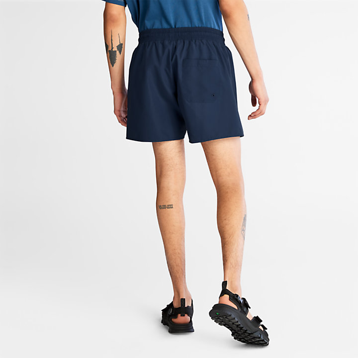 Short de bain uni pour homme en bleu marine-