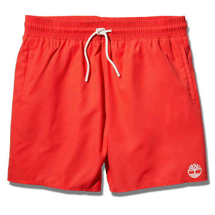 Solid-Colour Swim Shorts for Men in Red-