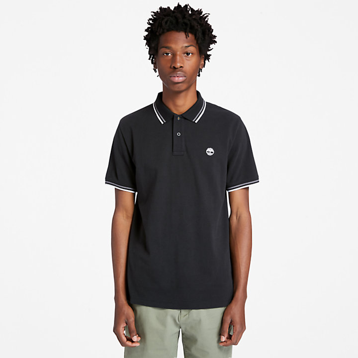 Millers River Tipped Polo Shirt for Men in Black-