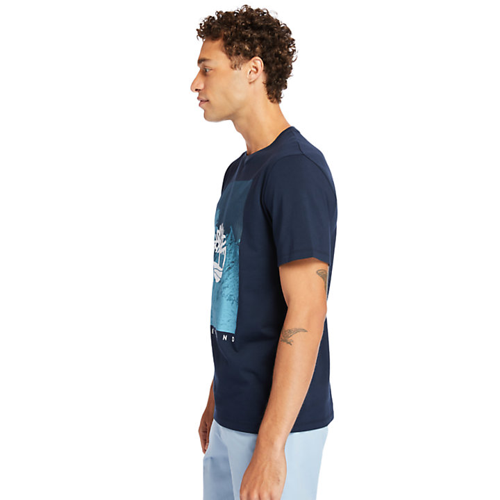 Front-Graphic T-Shirt for Men in Navy-