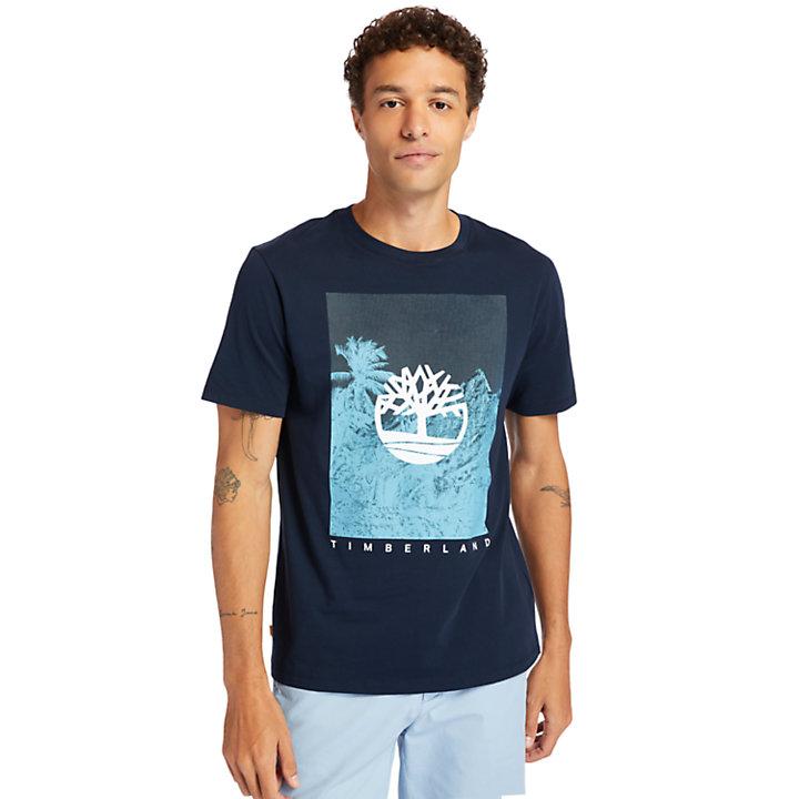 Camiseta con gráfico frontal para hombre en azul marino-