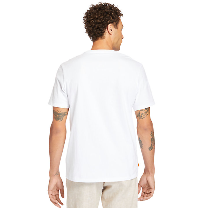 Print-Pocket T-Shirt for Men in White-
