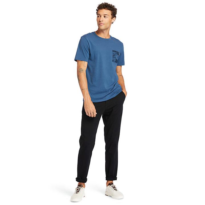 T-shirt à poche imprimée pour homme en bleu marine-