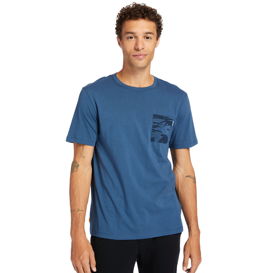 Timberland Print-pocket T-shirt For Men In Navy Navy, Size XL