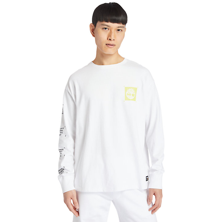 Garment-Dyed LS T-Shirt for Men in White-