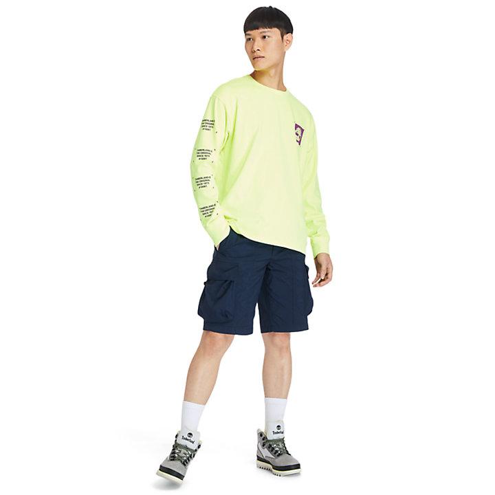 T-shirt à manches longues teint en pièce pour homme en jaune-