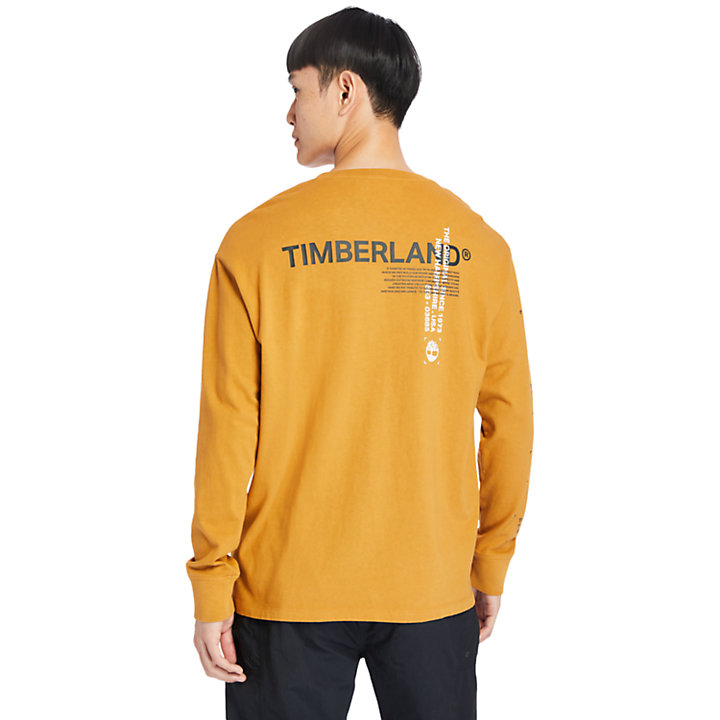 Garment-Dyed LS T-Shirt for Men in Orange-