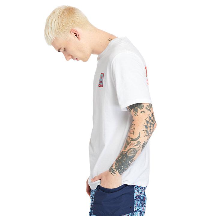 T-shirt graphique Outdoor Archive pour homme en blanc-