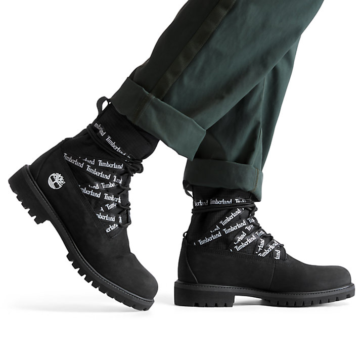 Premium Ribbon Lace-Up Boot for Men in Black-