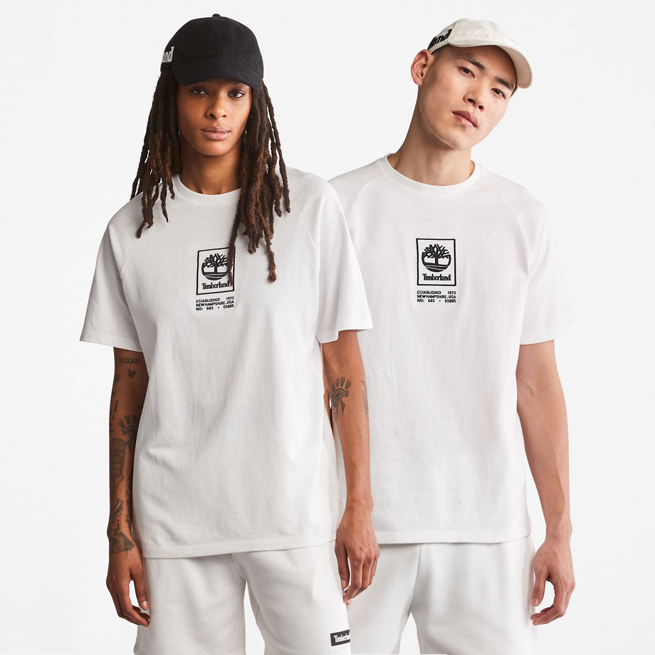 Timberland Heavyweight Logo T-shirt For Men In White White, Size S