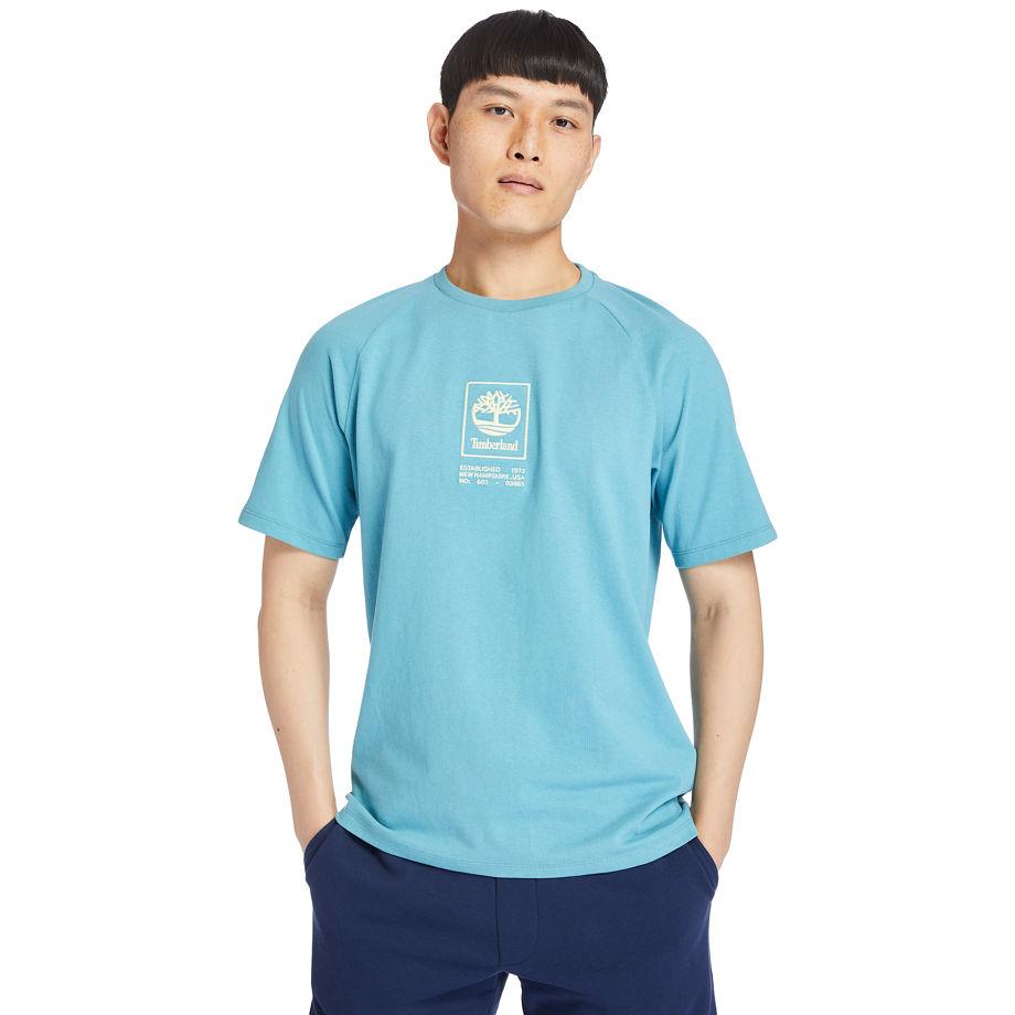 Timberland Heavyweight Logo T-shirt For Men In Blue Blue, Size XXL