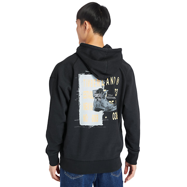 Garment-Dyed Graphic Hoodie for Men in Black-