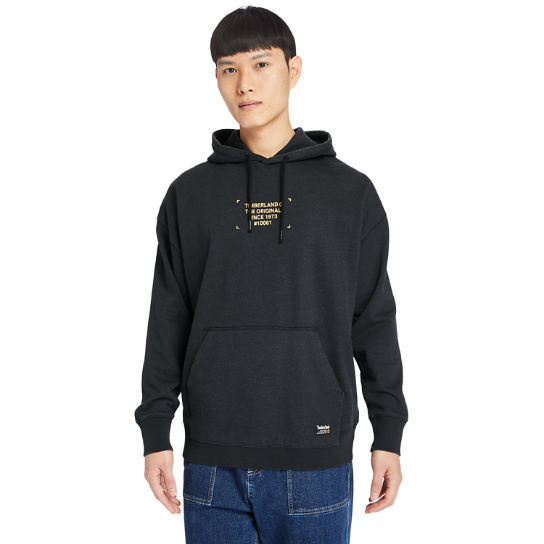 Garment-Dyed Graphic Hoodie for Men in Black | Timberland