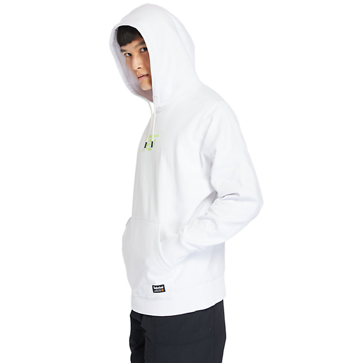 Garment-Dyed Graphic Hoodie for Men in White-