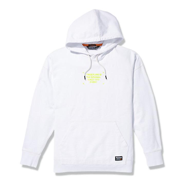 Sweat à capuche graphique teint en pièce pour homme en blanc-