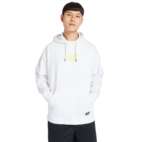 Garment-Dyed Graphic Hoodie for Men in White | Timberland