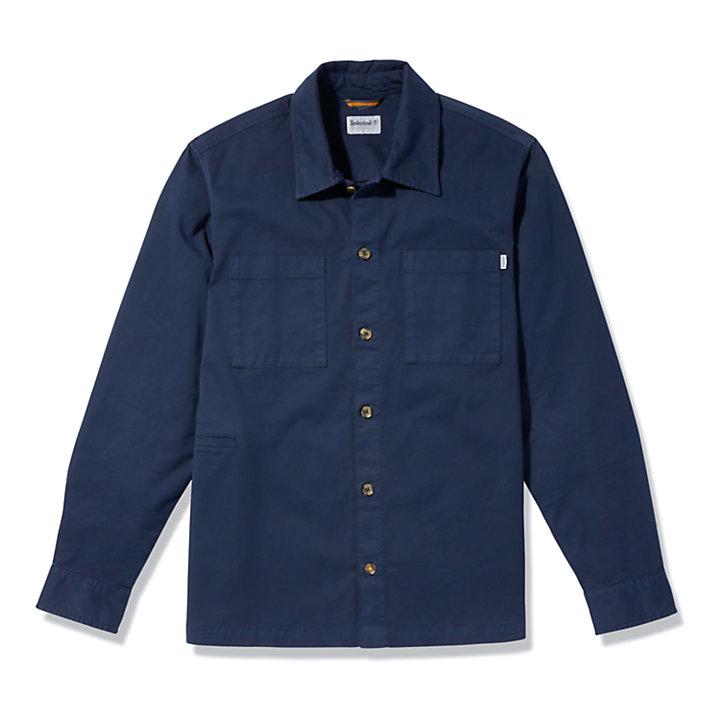 Stückgefärbtes Twill-Hemd für Herren in Navyblau-