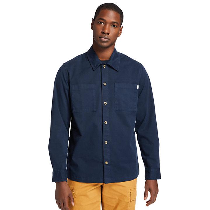 Chemise en sergé teinte en pièce pour homme en bleu marine-