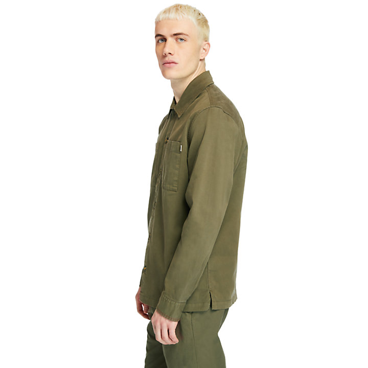 Garment-Dyed Twill Shirt for Men in Dark Green-