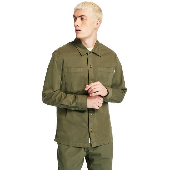 Garment-Dyed Twill Shirt for Men in Dark Green | Timberland