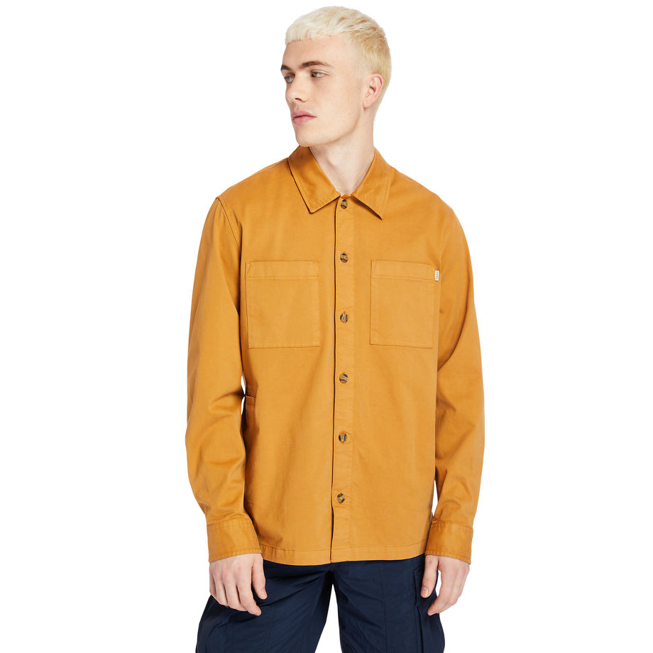 Timberland Garment-dyed Twill Shirt For Men In Orange Orange, Size L