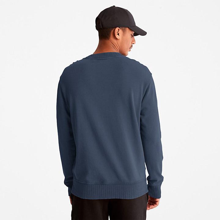 Felpa Girocollo da Uomo Garment-dyed in blu scuro-