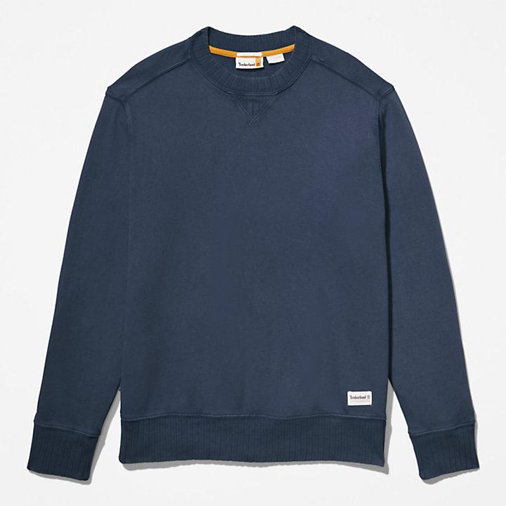 Stückgefärbtes Rundhals-Sweatshirt für Herren in Dunkelblau-