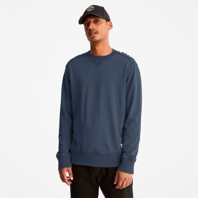 Garment-dyed+Crewneck+Sweatshirt+for+Men+in+Dark+Blue