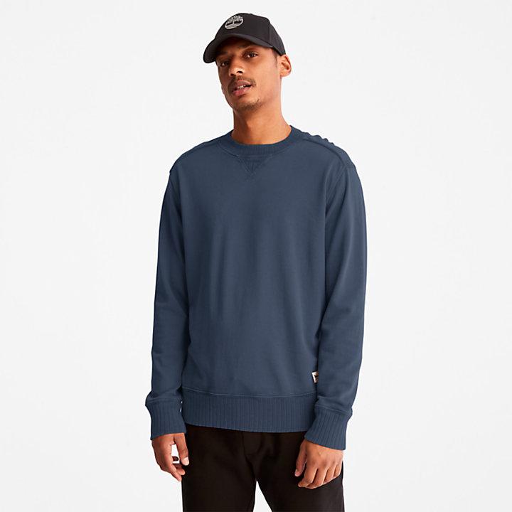 Sudadera con Cuello Redondo Teñida en Prenda para Hombre en azul oscuro-