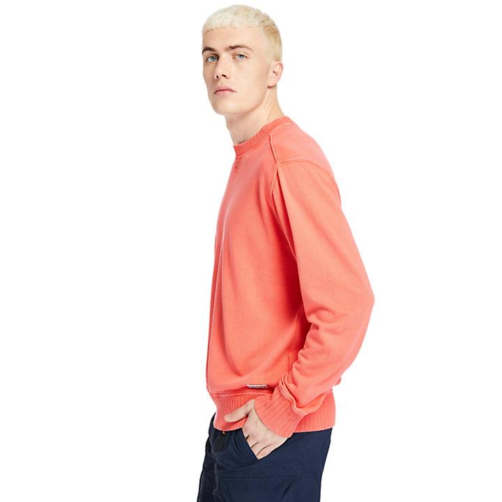 Sudadera con Cuello Redondo Teñida en Prenda para Hombre en rojo-