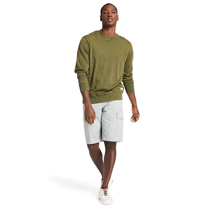 Sweat à col rond teint en pièce pour homme en vert foncé-