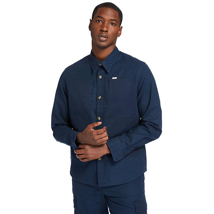 Camisa Tipo Chaqueta Cargo Ligera para Hombre en azul marino-
