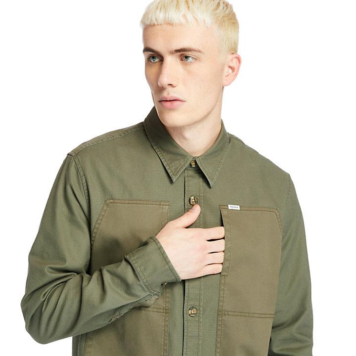 Leichte Cargo-Hemdjacke für Herren in Dunkelgrün-