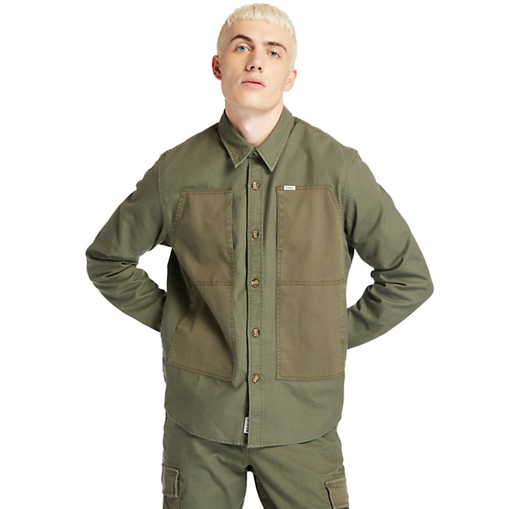 Lightweight Cargo Overshirt voor heren in donkergroen-