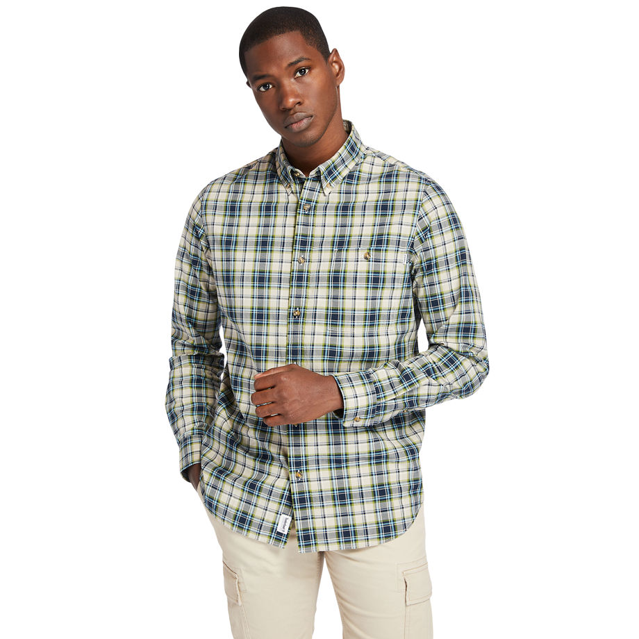 Timberland Essential Check Shirt For Men In Beige Beige, Size XL