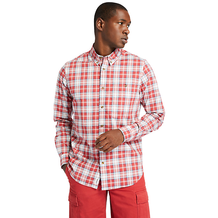 Chemise à carreaux Essential pour homme en rouge-