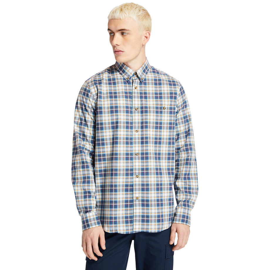 Timberland Essential Check Shirt For Men In Blue/yellow Blue, Size XL