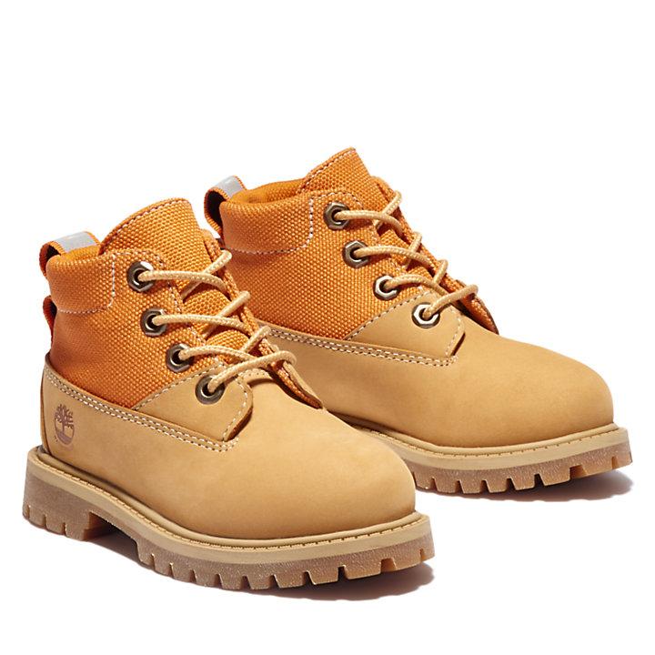 Premium 6-Inch-Stiefel aus Stoff und Leder für Kinder in Gelb-