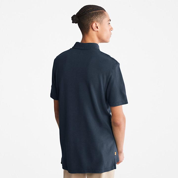 Polo teint en pièce pour homme en bleu marine-