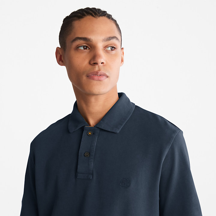 Garment-Dyed Polo Shirt for Men in Navy-