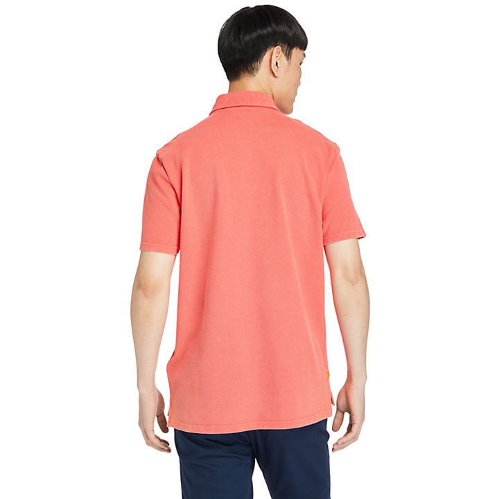 Garment-Dyed Polo Shirt for Men in Coral-