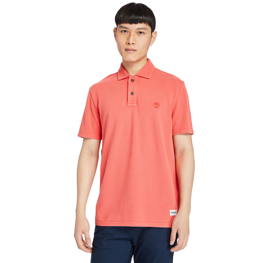 Timberland Garment-dyed Polo Shirt For Men In Coral Coral, Size S