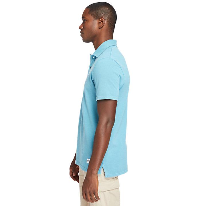 Stückgefärbtes Polohemd für Herren in Blau-
