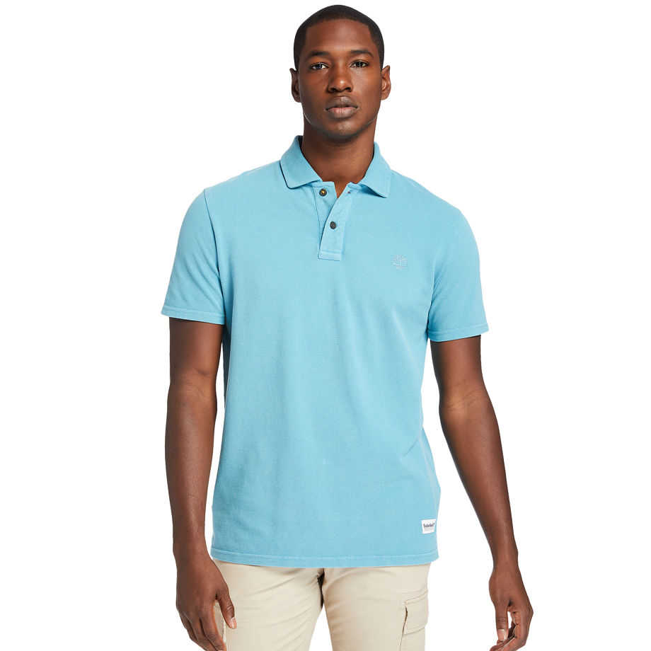 Timberland Garment-dyed Polo Shirt For Men In Blue Blue, Size XL