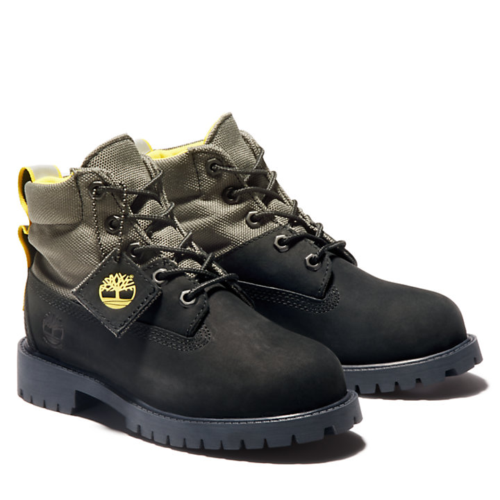Premium 6 Inch Fabric & Leather Boots voor Kids in zwart-